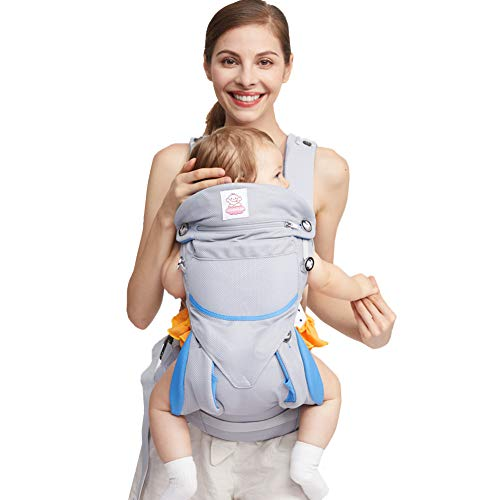 Eisemgou Infant Carrier Omni 360 All Carry Positions Baby Carrier with Soft Air Mesh-Blue