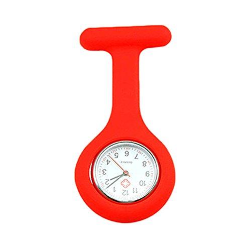 Analoge Schwesternuhr Nurse Watch mit Sicherheitsnadel Pflegeuhr Krankenschwesternuhr Pulsmesser Rot