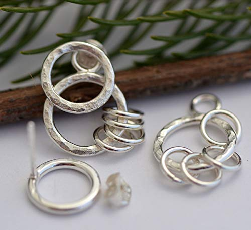 Small little hoop ear jackets sterling silver front back earrings two sided circle studs