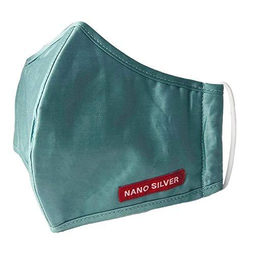 JaTop Mund-und Nasen-Maske waschbar 60 Grad aus Baumwolle dreilagig Nano-Technologie NEU für Erwachsene (Hell Grün Erwachsene)