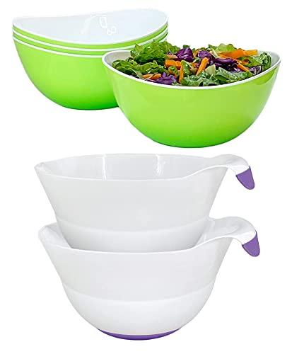 Honla Set of 4 Green Salad Bowls Bundle with Set of two Purple Mixing Bowls (2 Items)