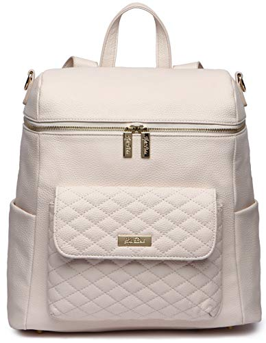 Monaco Diaper Bag Backpack by Luli Bebe - Chic Vegan Leather Diaper Bag Backpack with Large Luxury Quilted Gender Neutral Design, Stroller Straps, Changing Mat (Pastel Pink)