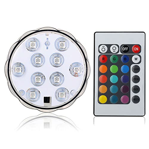 LIAWEI Piscina LED con mando a distancia, luces subacuáticas para bañera, 10 lámparas de buceo LED para acuario, hidromasaje, estanque, piscina, base, jarrón, jardín, boda, fiesta