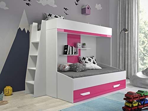Etagenbett für Kinder PARTY 17 Stockbett mit Treppe und Bettkasten KRYSPOL (Weiß + Rosa Glanz)