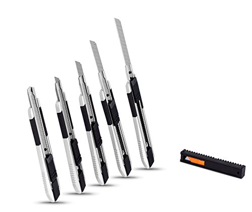 Internet's Best Snap-Off Utility Knife - Small - Set of 5 Pack - Blades Belt Clip - Retractable Razor Knife Set - Box Cutter Locking Razor Knife Tool - Good Grip