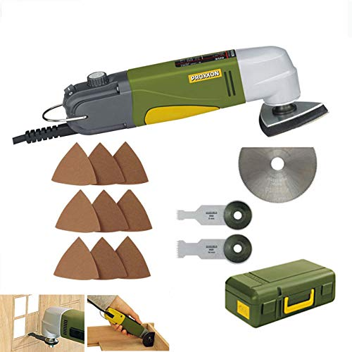 PROXXON Multitool/Eckenschleifer OZI/E Set - inklusive HSS-Trennblatt, Tauchsägeblatt 8 mm, Tauchsägeblatt 14 mm, 75 Stück Schleifblätter K80/K150/K240 und Koffer