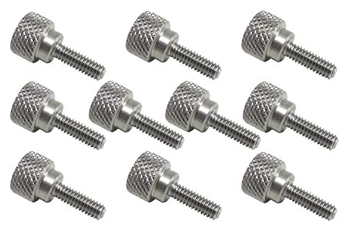 10 Pack 8-32 x 1/2 Inch Threads 303 Stainless Steel Diamond Knurled Thumb Screws with Straight Shoulders Right-Hand Threads SAE Flat Tip Uncoated