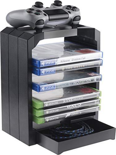 Geekhome - Universal Games Storage Tower für bis zu 10 Spiele, extra Fach für Zubehör, Ablegemöglichkeit für Controller - geeignet für Playstation 5, Xbox Series S & X, Xbox One, PS4, PS3, Blu Rays