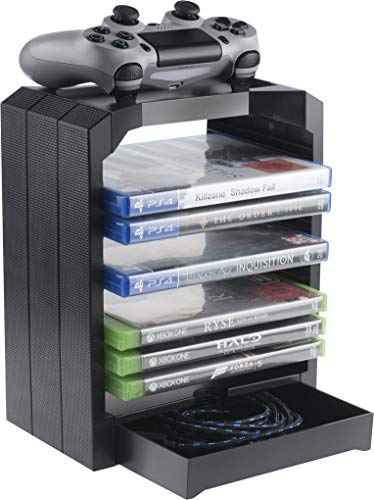 Geekhome - Universal Games Storage Tower for up to 10 games - Xbox One, PS4, PS3, Blu Rays (PS4///) [Edizione: Regno Unito]