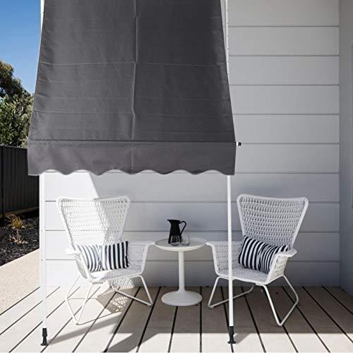 Wakects Sonnensegel, 3 x 1,2 m, aufrollbar, quadratisch, mit Beinen, höhenverstellbar, ausziehbar, für Außenbereich, Garten, Balkon und Terrasse (grau)