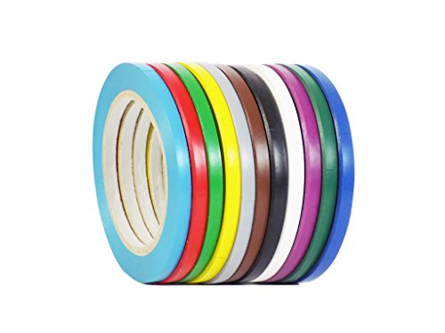 WOD VTC365 Rainbow Pack Vinyl Pinstriping Tape, 1/4 inch x 36 yds. (Pack of 12) for School Gym Marking Floor, Crafting, Stripping Arcade1Up, Vehicles and More