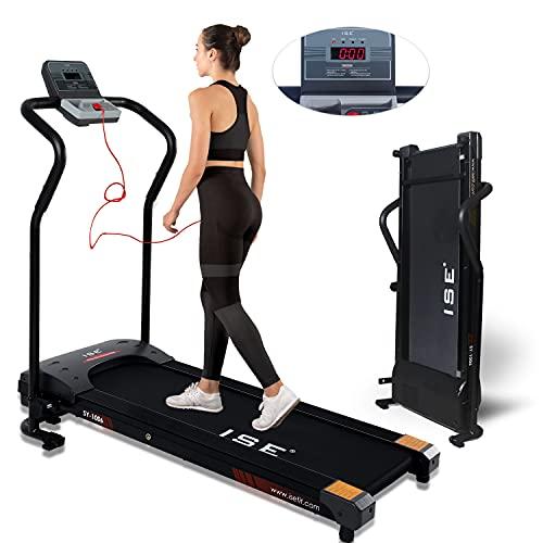 ISE Tapis Roulant Pieghevole Elettrico, Motore 10 km/h 750W, Folding Treadmill con Schermo LCD per Velocità, Tempo, Distanza e Calorie, Ideale per Casa/Ufficio, Max.120 kg, SY-1006