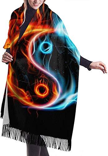Irener Bufanda de mantón, Fire Burning Yin Yang Women