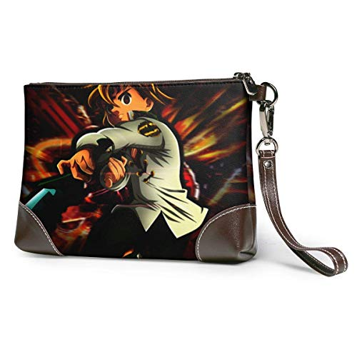 XCNGG The Seven Deadly Sins Womens Genuine Leather Wristlet Zipper Wallet Phone Passport Holder Hand Purse,Large Capacity Men Cowhide Clutches Purses