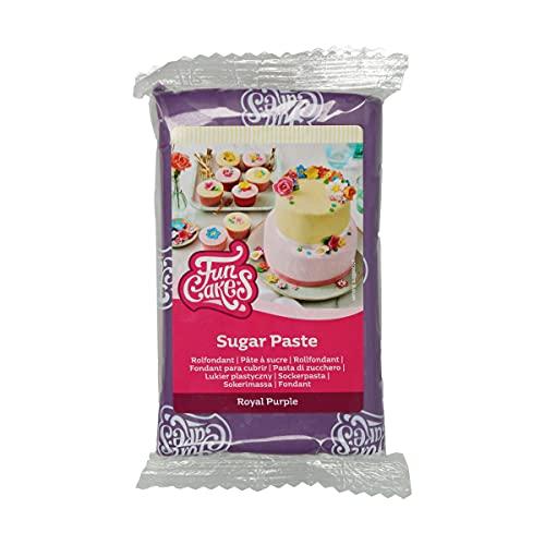 FunCakes Pasta di ZuccheroRoyal Purple: facile da usare, liscia, flessibile, morbida e pieghevole, perfetta per la decorazione di torte. Senza glutine. 250 gr