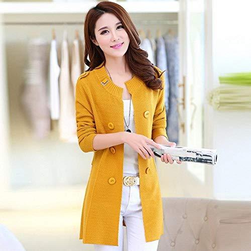 Rebecas del suéter de Las Mujeres Caliente diseño Largo Ocasional de Punto Mujer Escudo Cardigan Señora suéter Hyococ (Color : Yellow, Size : X-Large)