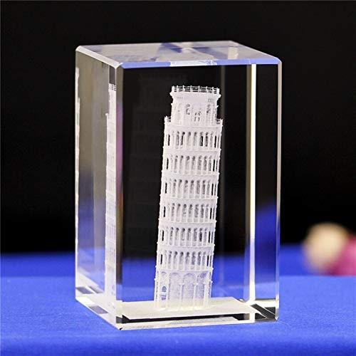 DFGDFG 3D Crystal Cube Grabado Building Modelo Figurines Miniatures Souvenirs Decoración del hogar Regalos de Lujo (Color : Miniatures 11, Size : 50x50x80mm)