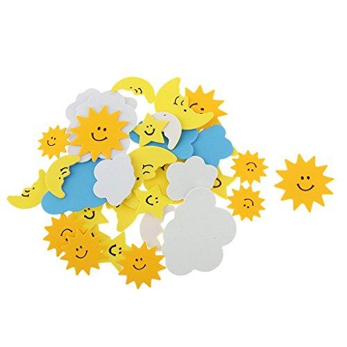 veroda 30Stück Schaumstoff gemischt Formen Sonne Wolken Mond Aufkleber für Kinder Kinder Craft DIY Arbeit Dekoration