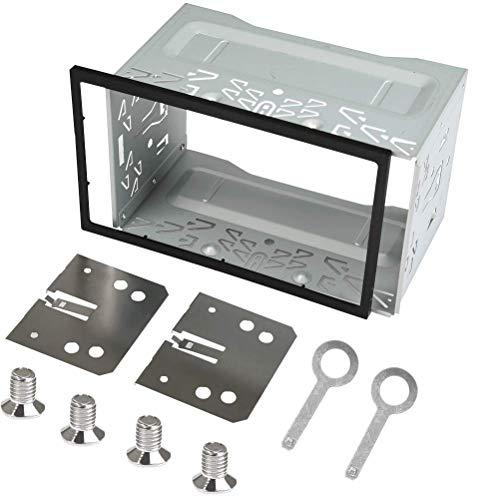 QLOUNI Eisen Plastik Einbaurahmen, 2 DIN Metall Rahmen, Einbauschacht Radioblende Einbausatz für Doppel 2 DIN Autoradio, Auto DVD Player, GPS Navigation