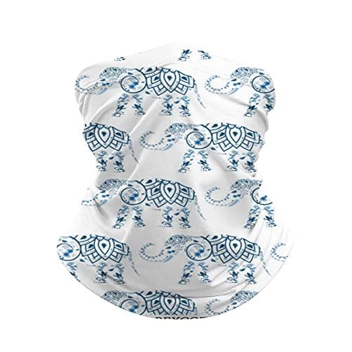 asdew987 Bandana de elefante tribal azul mandala en el cuello blanco Polaina máscara facial calentador de cuello frío a prueba de viento ligero bufanda de seda de hielo para hombres y mujeres