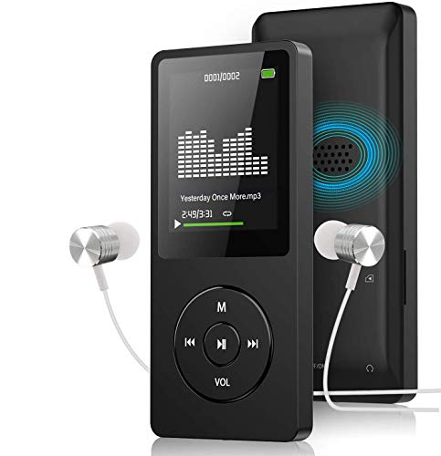 Mp3 Player with FM Radio and Voice Recorder, Ultra Slim Music Player with Video Play Text Reading and Build-in Speaker Support up to 128GB, Music Earphone Included (Black)