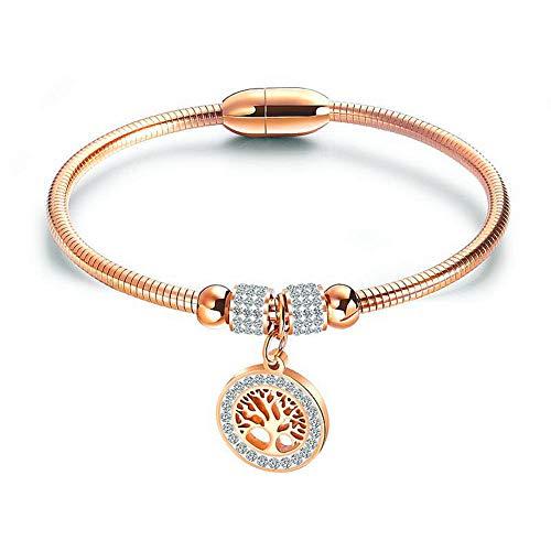 ATEIELLI Lebensbaum Armband Edelstahl Rosegold Vergoldet Damen Armreif mit Magnetverschluss JWB155 (Rosegold)