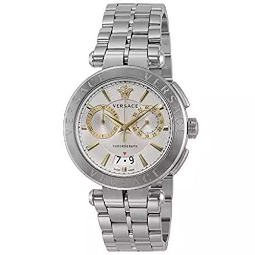 Versace Aion VE1D009 19 - Reloj de pulsera para hombre (45 mm), color plateado