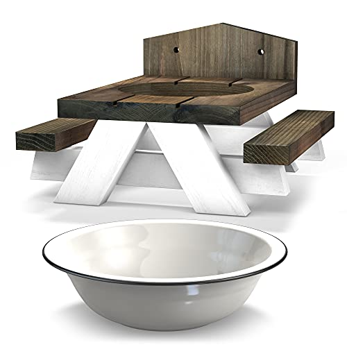 Squirrel Feeder Picnic Table – Removable Bowl - Fence/Tree Attachment Included - Farmhouse Style