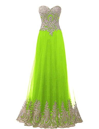 Carnivalprom Damen Schatz Abendkleider Lange Elegant HochzeitsKleid Mit Gold Applikationen Brautjungfernkleider(Kalkgrün,44)