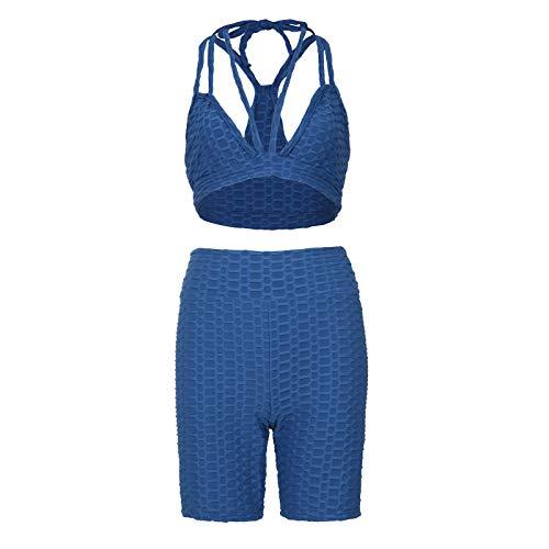 Junjie Conjunto de Leggins Mujer Push Up para Yoga Fitness Panal Arrugado Cintura Alta Cuello V Mallas Deportivas Mujer Fitness Pantalones Deportivos