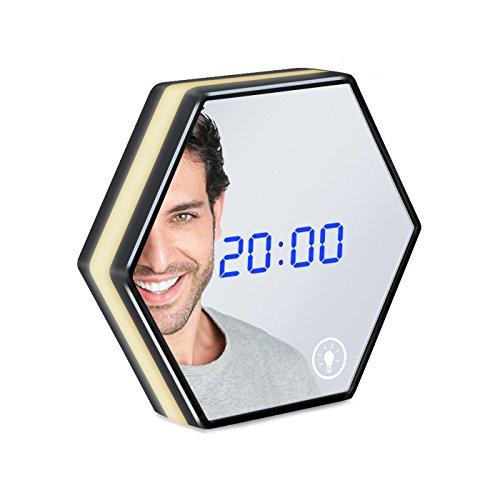 Binken LED Reloj Despertador con Digital, Espejo Pantalla de Temperatura LED Inteligente Interruptor Táctil con Luz Nocturna 12/24 H Carga USB Batería para Dormitorio de Oficina Habitación Infantil