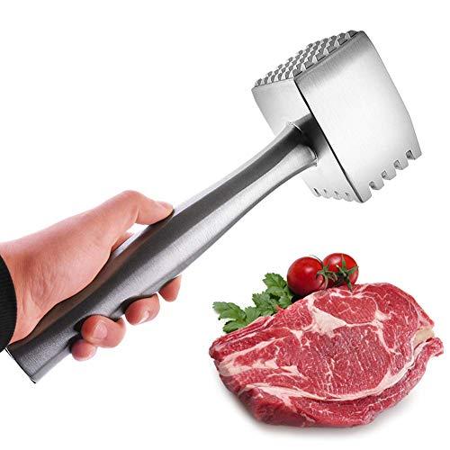 LEIJINGZI Ablandador de carne, una herramienta de doble cara martillo de carne de mano de acero inoxidable de alta resistencia con mango ergonómico for carne, pollo, pescado, carne de cerdo y martillo