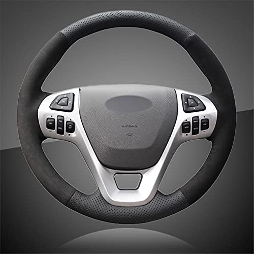 VIdisp Cubierta de Volante Cosida a Mano, para Ford Explorer 2011-2019 Taurus 2013-2019 Edge 2011-2014 Flex 2013