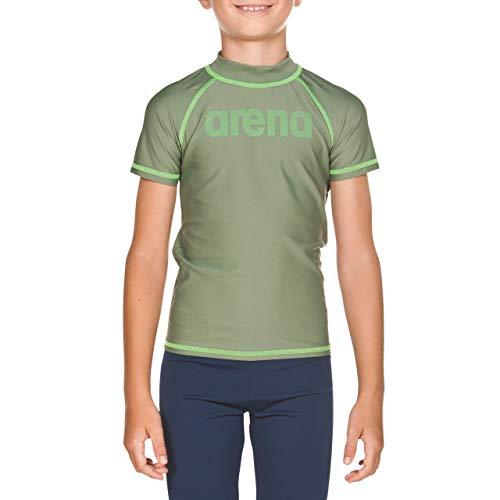 Arena Boy T-Shirt Camiseta Niño con Protección UV, Niños, Army-Shiny Green, 6-7