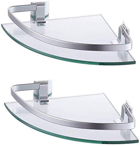 Umi. por Amazon Estanterías para Baño Estante de Vidrio Estanteria Ducha Rinconera Estantería de Esquina Ducha Aluminio 2 piezas Plata, A4120A-P2