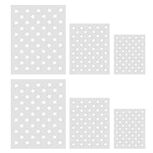 6PCS Surtido Tamaño Reutilizable 50 Estrellas Pintura Plantilla plantilla de plantilla para la bandera americana de madera papel lienzo telas metal muebles de pared arte