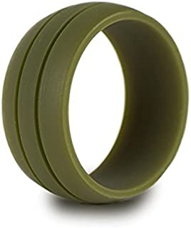 Silicone Wedding Ring- Safe Wedding Band for Sports, Work, Gym, Military, First Responders.Recommended for Men Cool Design