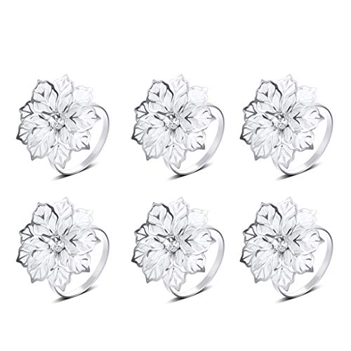 goneryisour 6 Pcs Alloy Napkin Rings with Hollow Flower, Exquisite Napkins Rings Set for Wedding Banquet Dinner Decor