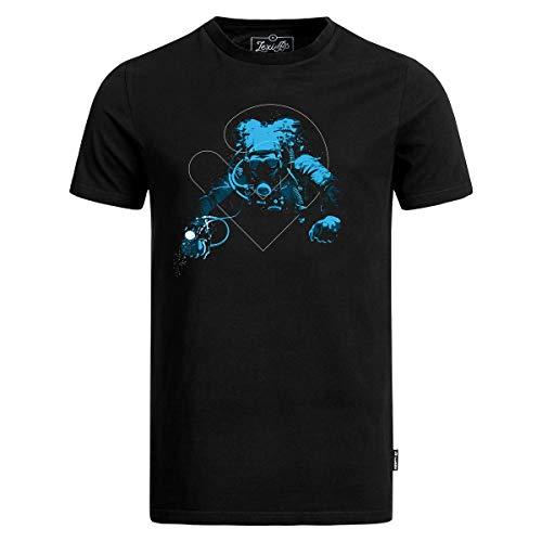 Lexi&Bö schwarzes Herren T-Shirt Tec Diver mit Taucher-Druck aus Bio-Baumwolle