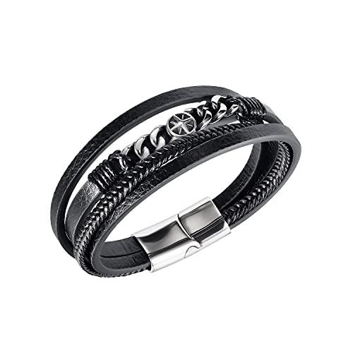 Herren Armband Leder Armreif Geflochten Schwarz Lederband Kompass Edelstahl Breites Lerderarmband Wickelarmband mit Magnet Verschluss Geschenk für Männer
