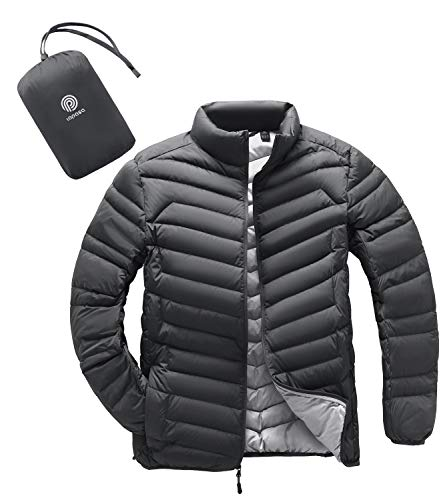 LAPASA Men's Packable Down Jacket Water-Resistant with Zipper Pockets Ultra-Lightweight Winter Outerwear Duck Down-filled M32 (Dark Gray, Large)