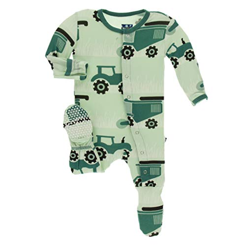 KicKee Pants Print Footie with Snaps (Pistachio Tractors and Wheat - 9-12 Months)