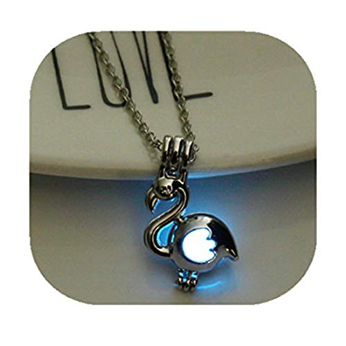 yichahu Fashion Jewelry Animal Swan Pendant Necklace Glow in The Dark Luminous Hollow Charm Women Girlfriend Party Valentine Gift(Blue)