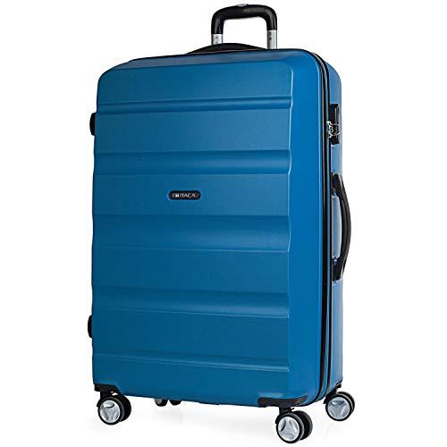 ITACA - Maleta de Viaje Rígida 4 Ruedas Grande XL Trolley 77 cm de ABS Lisa. Dura Resistente y Ligera. Gran Capacidad. 2 Asas y Candado. Estudiante y Profesional. T71670, Color Azul