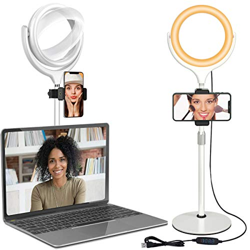 Ring Light for Laptop Computer - Video Conferencing Lighting, Desk Selfie Circle Light with Stand and Phone Holder for Video Recording, Webcam, Zoom Call Meeting, Studio, YouTube, Live Streaming