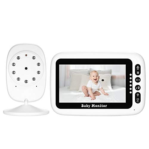 4,3 Zoll Farb-LCD-Wireless Digital Video Baby Monitor mit Lullabies Infrarot-Nachtsicht Zweiweggespräch Zurück Nursing Erinnerung Baby-Licht-Temperatur Wein Warnung Überwachungsfunktion Long Range AC1