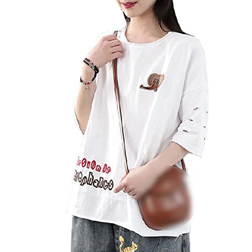 Nueva Camiseta de algodón de Manga Corta de Moda para Mujer, Ropa Superior, Camisa Holgada de Verano, Camiseta de Media Manga de Talla Grande