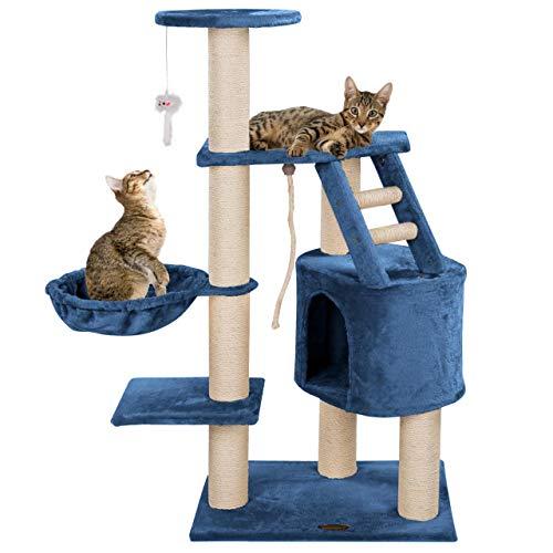 Happypet® Kratzbaum für Katzen mittelgroß CAT017 120 cm hoch, Kletterbaum Katzenbaum, extra Dicke und stabile Säulen mit Sisal ca. 9 cm, Liegemulde, Haus, Treppe, Spielmaus, BLAU