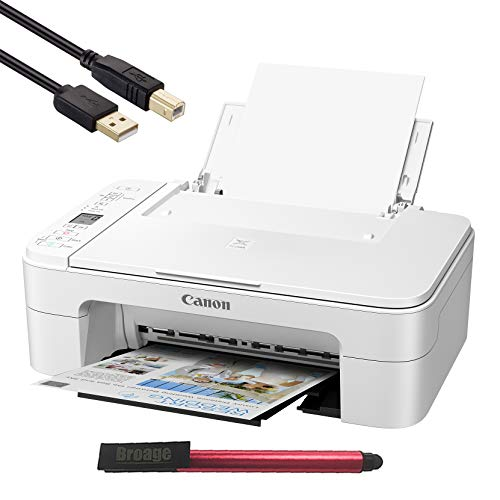 Canon PIXMA TS Series Wireless All-in-One Color Inkjet Printer, White - 3 in 1 Print, Scan, Copy - up to 4800 x 1200 Resolution, 1.5 Segment LCD Display - BROAGE 64GB Flash Drive + 3FT Printer Cable