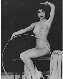 DS Decor Photos Quality Digital Print of a Vintage Photograph - Burlesque Girl with Hula Hoop. Black & White 5x7 inches - Luster Finish